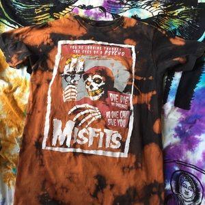 Size M Custom Bleach Dyed Misfits Tee